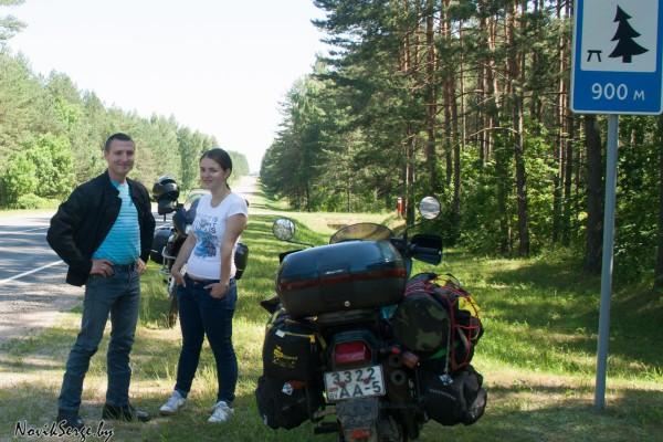 мотоцикл, дорога, остановка на обочине