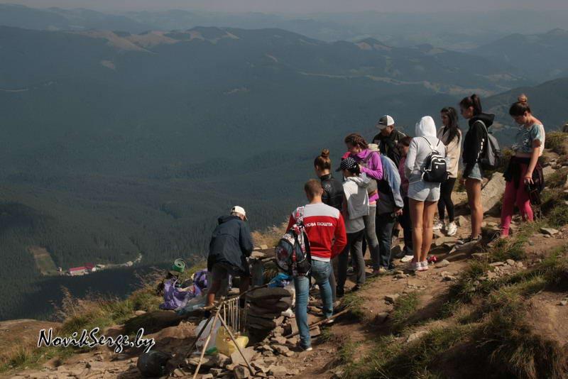 гора, очередь, туристы, чай