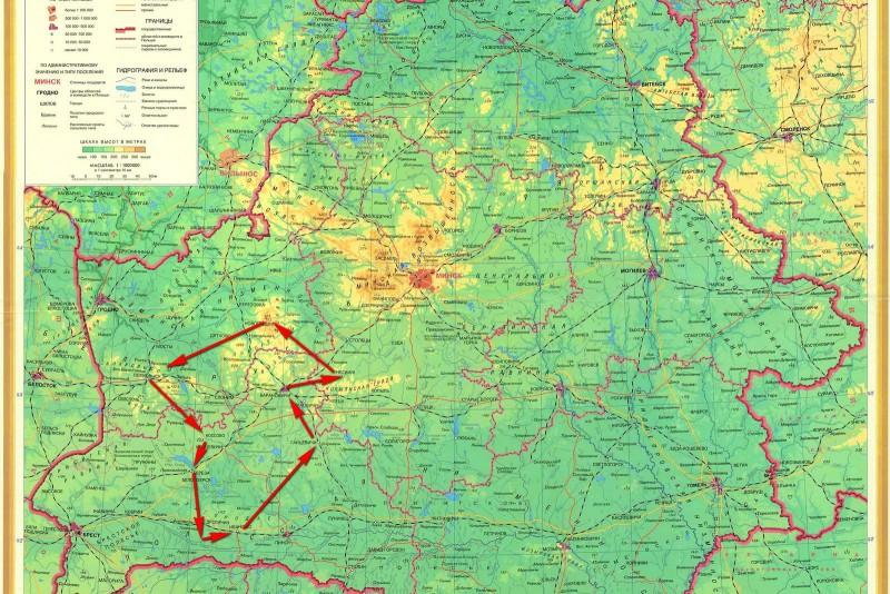 карта Беларуси, схема движения