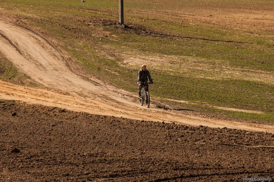 велосипедистка на полевой дороге